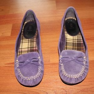 BAKERS Purple Suede Leather Loafers Moccassin Shoe
